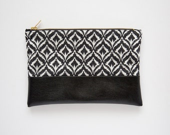 Ikat Pattern Vegan Leather Clutch