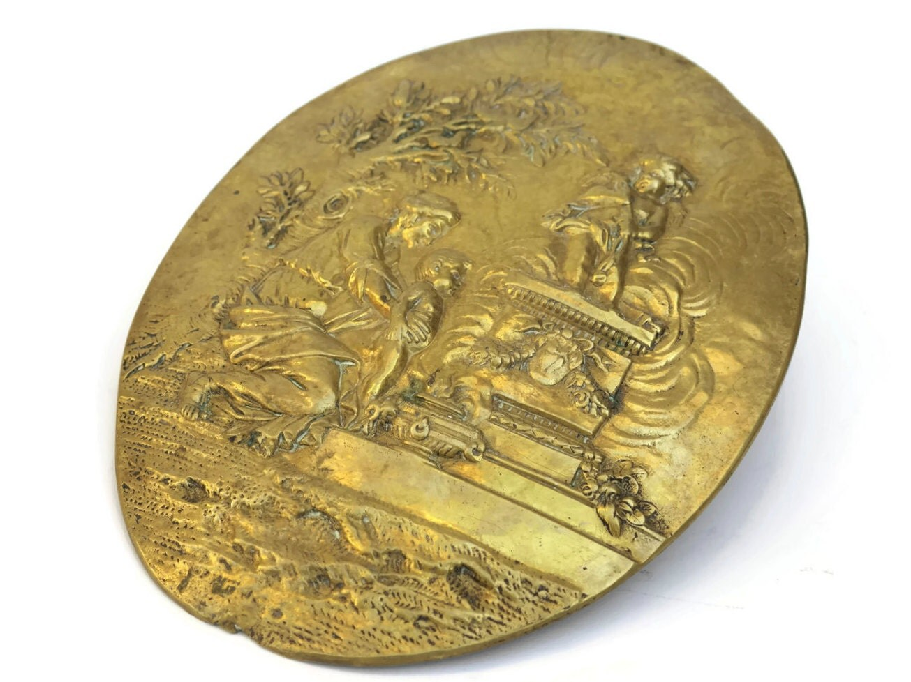 Antique French Brass Wall Plaque With Mother And Child