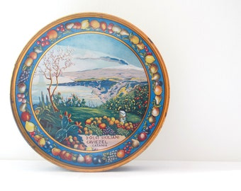 Vintage Rare Italian Tin Box decorated with a Sicilian landscape, 1930s metal box, tin container, decorative box, home decoration