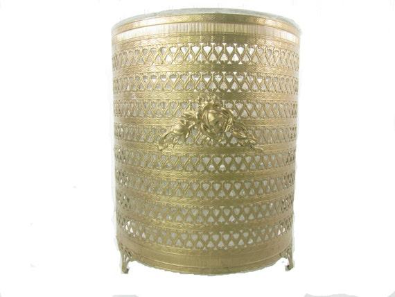 Waste Basket Trash Can Vintage Waste Can Antique Gold