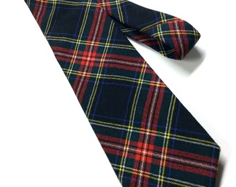 Vintage Tartan Plaid Wool Tie - Vintage Wool Tie - AXXA Necktie