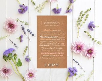 Rustic I Spy Wedding Game with Rustic Kraft Paper - Wedding Reception Game - Instant Download - Caroline
