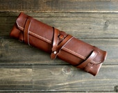 Leather Pencil Case - Custom Drawing Kit - Personalized Pencil Roll - Drafting Wrap - Painter, Drawing, Designer, Rustic, Personalized