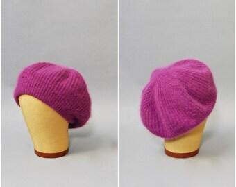 1950's Purple Beret • Fuzzy Knit Beret • 50's Purple Hat