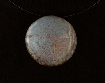 Enamel Copper Pendant - Formed & Enameled with Pale Blue