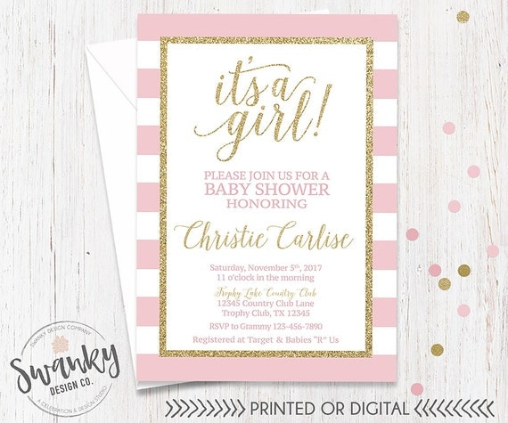 Pink And Gold Baby Shower Invitation Its A Girl By