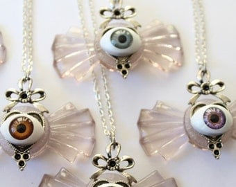 """Short """"EYEBOW"""" Art Deco bow necklaces and eye - several colors"""