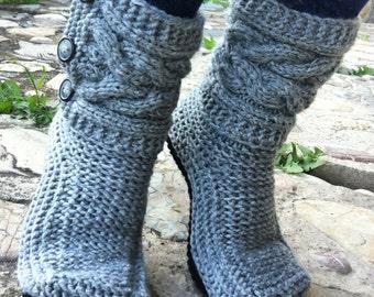 Indoor Knit Slippers-Women's Slippers-Purple Knit Boots-Black Knitted Slippers-Gray Knitted Boots-Gift Idea-Gestrickte Hausschuhe