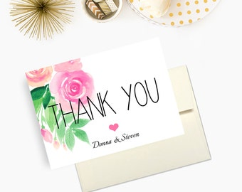 Wedding Thank You Cards, Pink Florals, Personalized Newlywed Cards - Set of 10 - Envelopes Included
