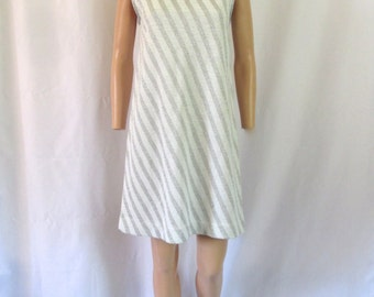 1960s Ami Jr. Sparkly Knit Silver & White Striped Dress Sz. M