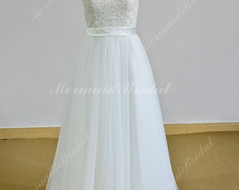 Stunning Ivory A line tulle lace destination wedding dress with illusion neckline