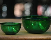 Mixing Bowl Set Forest Green Anchor Hocking Vintage Bowls