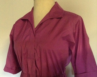 Vintage Dress 1950's Style 1980's Version Purple Button Front Dress with Gathered Skirt No. 14