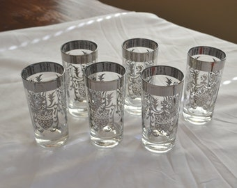 Mid Century Glassware Silver Crested Drinking Glasses Set of 6 Vintage Barware Gift Ideas