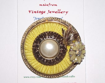 Yellow Themed Brooch and/or Pendant.  1-of-a-kind Collage Brooch. Yellow, leaf, rhinestones, faux pearl, gold plate. #81