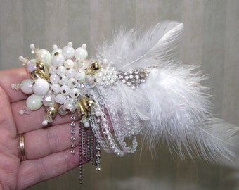 Clear Rhinestone HAIR CLIP Fascinator Made from vintage jewelry 1-of-a-kind. Feathers. Faux Pearls. Proms, Dressup, Weddings, Bridal, #86