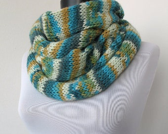 20% OFF SALE - Colorful Circle scarf  - loop scarf - infinity scarf - neck warmer - hand knitted   896