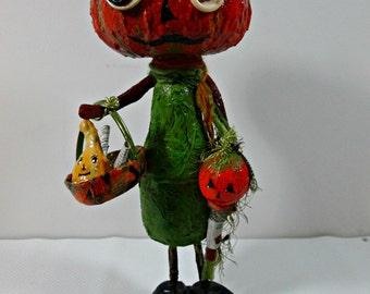 Halloween Pumpkin Art Doll /  OOAK / Folk Art Doll / Handmade Original/ Pumpkin Halloween Decoration JOL, Fall Pumpkin Doll