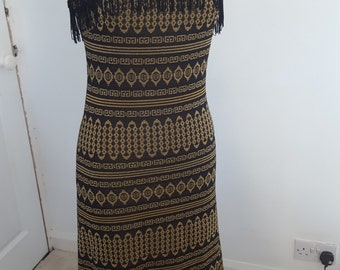 Vintage Maxi Dress / 60s 70s Long Dress / Black Gold Print Dress / Jersey Print Dress / Fringe Maxi Dress / Size Small