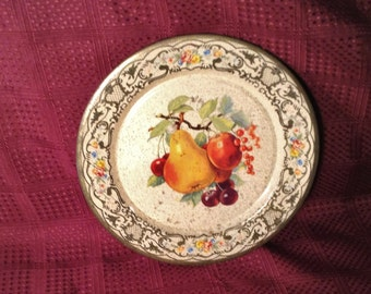 Small Fruit Daher Tin Tray or Plate - Flat Serving Platter - Kitchen Decor