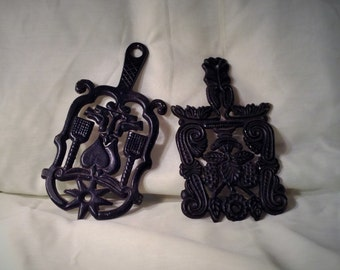 Pair of Black Cast Iron Trivets - Antique Kitchen Decor
