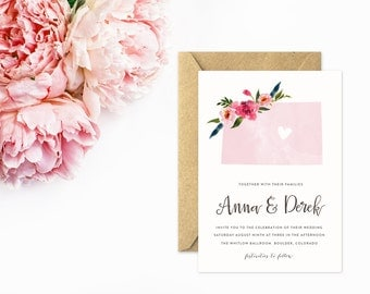 Colorado Wedding Invitations, State Wedding Invitations, Watercolor with Flowers