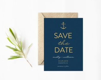 Anchor Save The Date, Modern Nautical Save The Date Cards, Navy and Gold