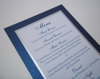 Shimmer Navy Blue, Silver and White Menu Card - Wedding - Dinner - Party - Birthday Menus 5x7 Size