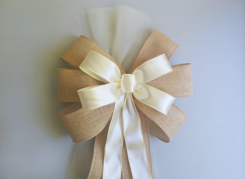 Ivory pew bows rustic burlap wedding decorations chair - Bow decorations for weddings ...