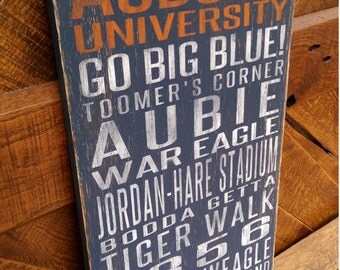 Auburn University Tigers Distressed Wood Sign-Great Father's Day Gift!