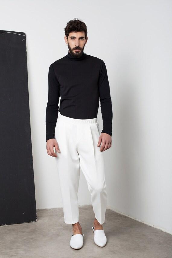 Mens Pants Mens White Pants Mens Neoprene Pants Mens Loose