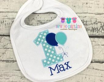 Baby Boy 1st Birthday Bib - Boy Birthday Bib - First Birthday personalized bib - Blue Birthday bib - Birthday Balloon Bib