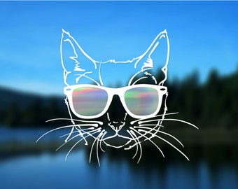 "Cat Decal, Vinyl Decal, Car Decal, Bumper Sticker, 5"" decal"