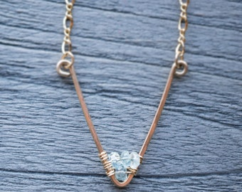 aquamarine ravine / gold chevron gemstone necklace