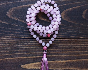Rose Quartz Mala Beads 108, Knotted Mala Necklace, Yoga Jewelry, Japa Mala Spiritual Jewelry, Sterling Silver, Love, Emotional Healing,