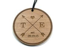Wedding Christmas Ornament / Custom Engraved / Personalized / Newlywed Couple / Arrow Design