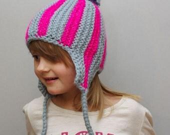 Kids reflective striped ear flap hat, aviator cap, trapper hunter hat, handknit hat, winter hat, kids pompom hat, knitted reflector hat