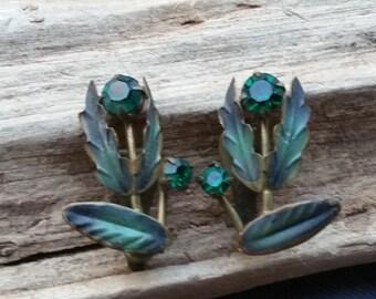 Austria earrings - painted earrings - green earrings - green flower earrings - Tulip earrings - clip on earrings - vintage earrings