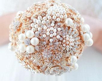 Custom Gold Pearl Brooch Bouquet, Bridal Bouquet, Wedding Bouquet, Jeweled Bouquet, Vintage Lace - 5 inch Bouquet
