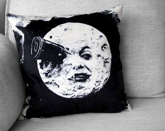 """le voyage dans la lune - 18"""" velveteen pillow case - french silent film -Georges Méliès, 1902"""