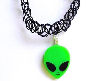 Alien Tattoo Choker - Black Choker - 90's Choker - Grunge Choker - Alien Necklace