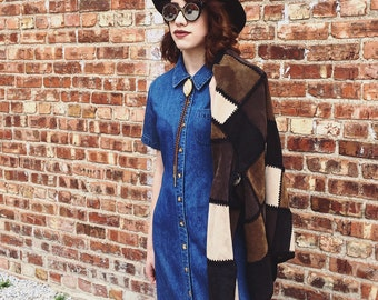 Vintage Patchwork Leather Jacket // Women's Size Large