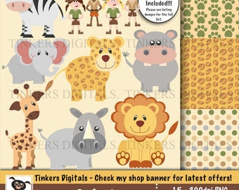Safari Clip Art and Paper Pack with INSTANT DOWNLOAD.