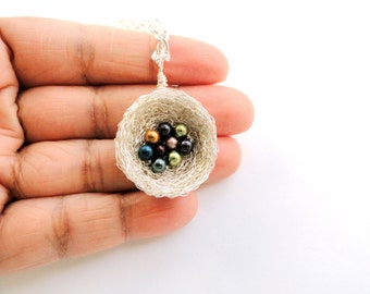 9 swarovski pearl birthstone birds nest necklace,birds nest birthstone necklace,gift for grandmother, nine pearl birthstone necklace