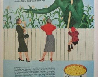 Green Giant Niblets Corn Ad ~ Jolly Green Giant Farmer ~ Original Magazine Advertising 1950s