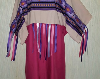 2x, 1x, Large,   Native American indian ribbon dress  pow-wow regalia, with leggings.