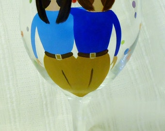 Best friends wine glasses, Painted wine glasses, Best friends, Custom painted glasses, Friend, Wine glasses,Painted glass,Hand painted,20 oz