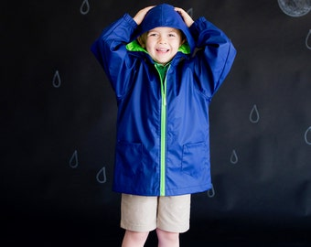 Monogrammed Youth Boys or Girls Navy Full-Zip Hooded Rain Jacket Coat