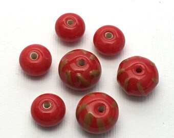 7 red lampwork glass bead14mm #PV 016