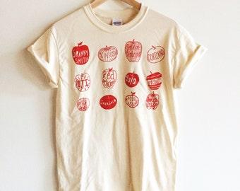 Screen Printed T Shirt, Apple Varieties